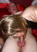 Zoe sucking older mans cock on her satin bed