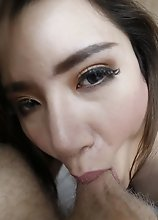 25yo busty Thai ladyboy sucks off a big white tourist cock