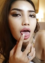20 year old busty Thai ladyboy sucks white cock dry and get cum on her boobs