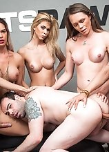 All Holes Filled With Hard TS Cock in this gangbang