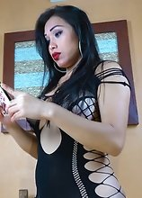Busty TransBabe watching Porn and CUMMING a TON
