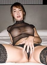 Busty Ladyboy Nanny - Black Sheer Bareback