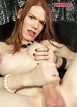 Sexy Destiny Love is a horny tgirl with a sexy pale body, long red hair, big tits with perky nipples, a nice ass and a hard cock! In this sexy scene D