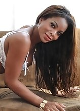 Sexy black T-girl Irisis Souza loves hard throbbing dicks