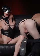 TS catwoman Angelina fucks a guy