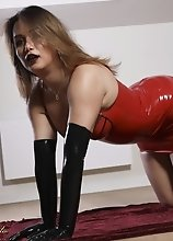Bianka in Seductive Red Latex is Horny as Shit and Ready to Fuck