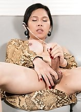Asian Ladyboy Mimi Intense Cumshot Cock Masturbation