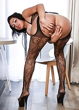 Michelle Sanchez is a hot curvy Latina tgirl with a sexy body, big boobs and a juicy big ass! Watch her stroking her cock and shaking her booty!
