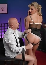 Angelina obeys her master's desires to fuck all her tight tranny holes hard