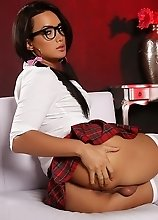 Schoolgirl Bianka pleasuring herself