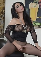 Sexy Vaniity posing in fishnets