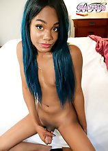 Aurora Jade is a sexy slim ebony tgirl with a hot body, a nice firm ass and a delicious cock! Enjoy this sexy transgirl as she jerks off and cums for
