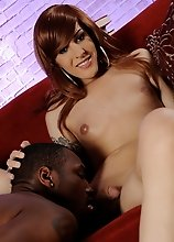 Amazing tgirl Ryder having oral with a black dude