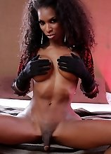 Yummy chocolate hottie Natassia exposing herself