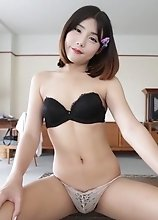 Petite Ladyboy with small tits shows not-so-innocent behavior