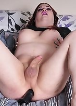 Tiffany Pleasures Herself with a Fleshlight for Her Cock and a Dildo Up Her Ass