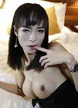 24yo busty Thai ladyboy sucks off a big white tourist cock