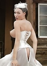 Stunning Mia posing in a gorgeous wedding dress